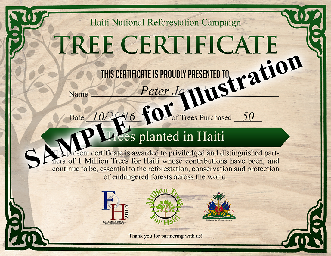 Million trees certificate